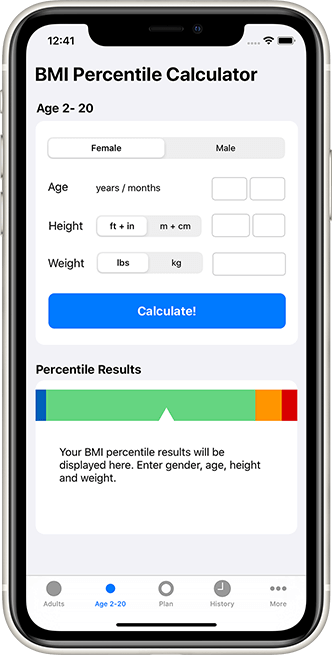 iOS bmi percentile calculator