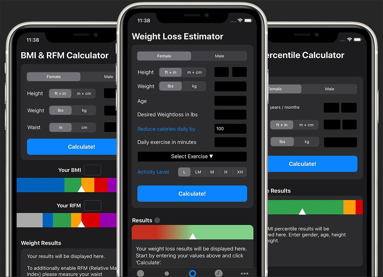weight loss iOS app dark mode